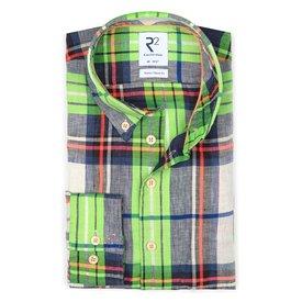 R2 Neon checkered linen shirt.