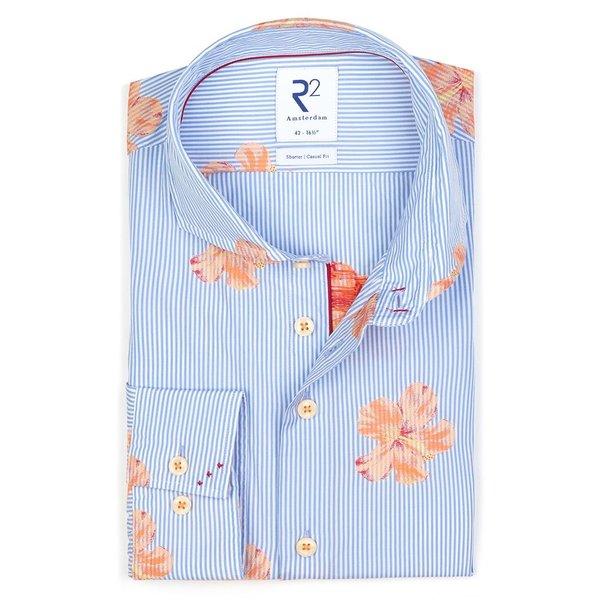 R2 Lichtblauw jacquard bloemenprint katoenen overhemd.