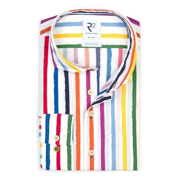 R2 White paint stripes print cotton shirt.