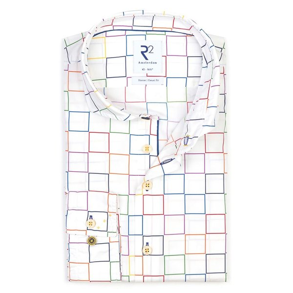 R2 Weißes Quadratischer Druck Baumwollhemd.