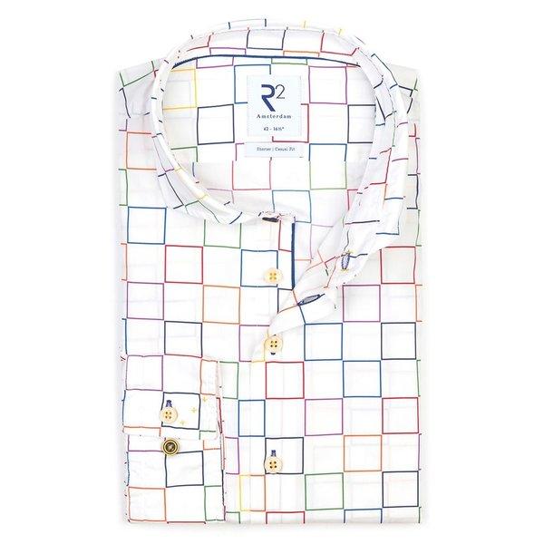 R2 Wit vierkant print katoenen overhemd.