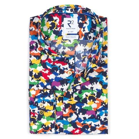 Meerkleurig dierenprint katoenen overhemd.