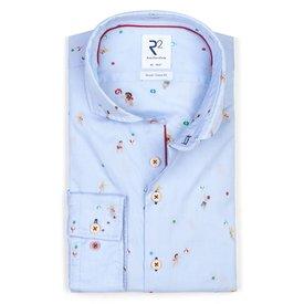 R2 Light blue beach print cotton shirt.