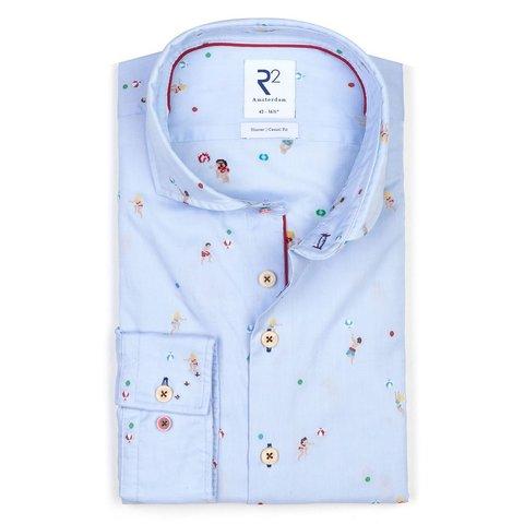 Light blue beach print cotton shirt.