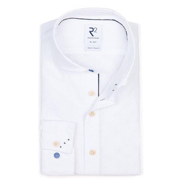 R2 Weißes Seersucker Baumwollhemd.