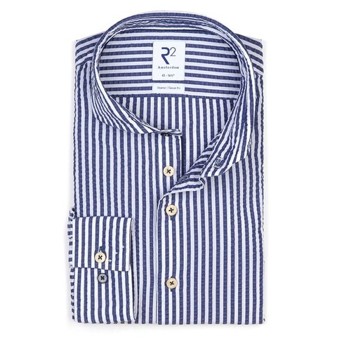 White striped seersucker cotton shirt.