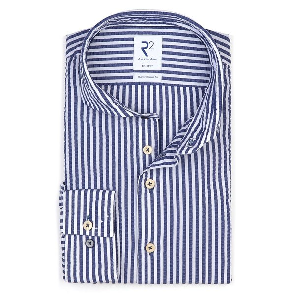 R2 White striped seersucker cotton shirt.