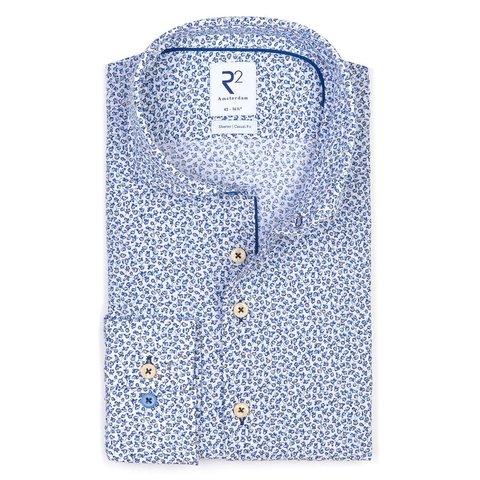 Blauw bloemenprint seersucker katoenen overhemd.