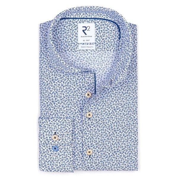 R2 Blauw bloemenprint seersucker katoenen overhemd.