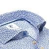 Blue flower print seersucker cotton shirt.