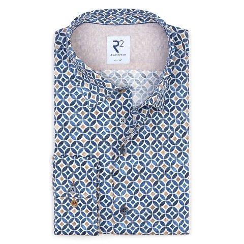 Blau-beiges Grafikdruck Baumwollhemd.