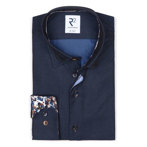 Navy blue 2 PLY cotton shirt.