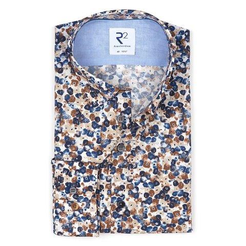 Blue flower print cotton shirt.