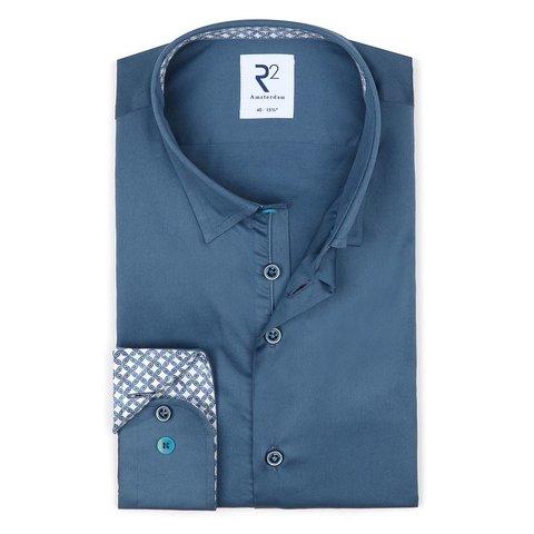 Blaues 2 PLY Baumwollhemd.