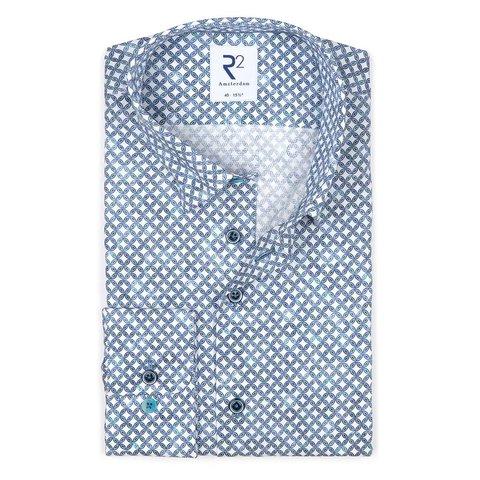 Weißes Grafikdruck Dobby-Baumwollhemd.
