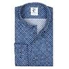 Blaues Kreisdruck-Dobby-Baumwollhemd.