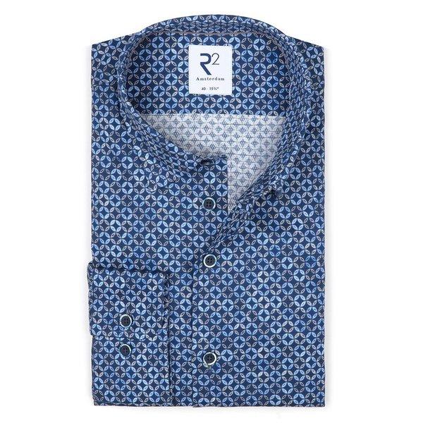 R2 Blue circle print dobby cotton shirt.