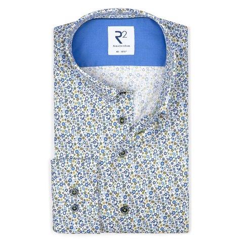 White flower print dobby cotton shirt.