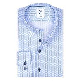R2 Light blue dots print cotton shirt.
