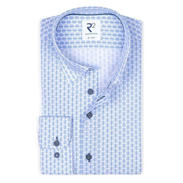 R2 Lichtblauw stippen print katoenen overhemd.