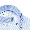 Lichtblauw stippen print katoenen overhemd.