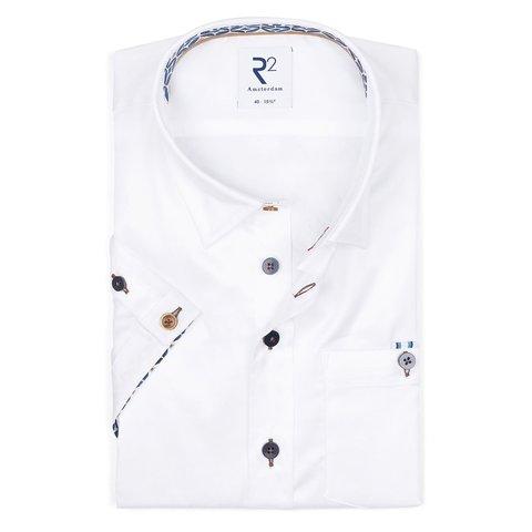 Korte mouwen wit 2 PLY katoenen overhemd.