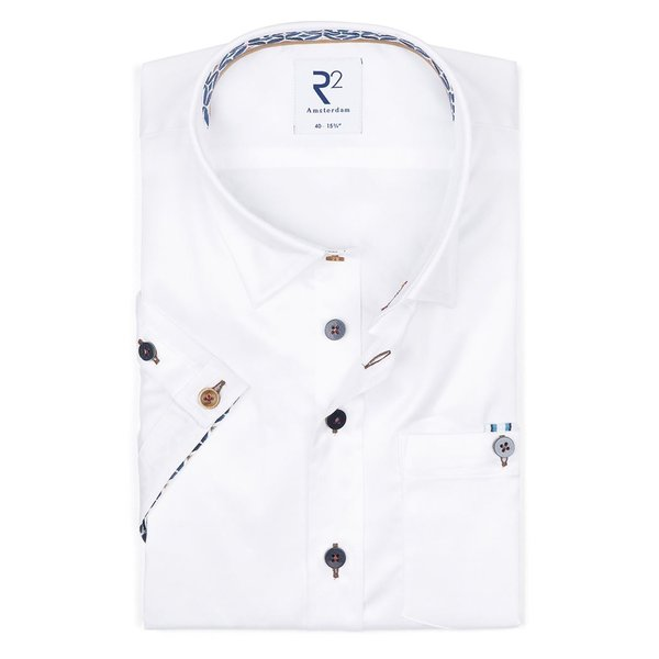 R2 Short sleeves white 2 PLY cotton shirt.