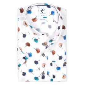 R2 Short sleeves white flower print stretch cotton shirt.