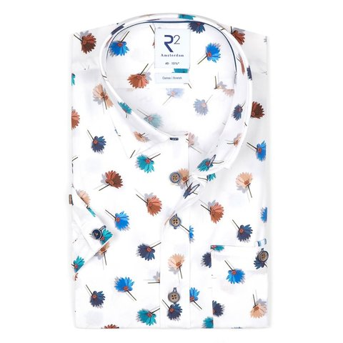 Short sleeves white flower print stretch cotton shirt.