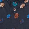 Korte mouwen kobalt blauw bloemenprint stretch katoenen overhemd.