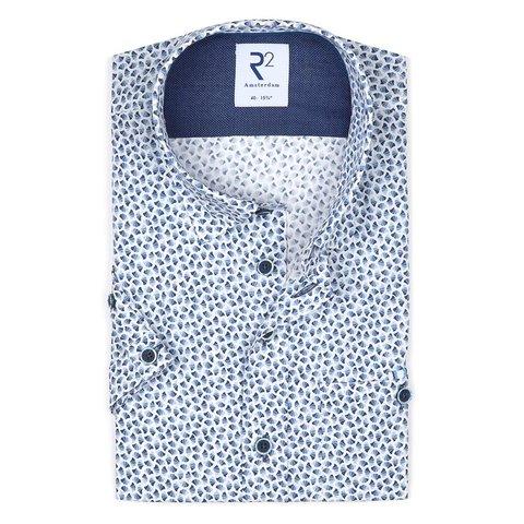 Short sleeves blue graphic print cotton shirt.