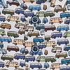 Korte mouwen VW bus print stretch katoenen overhemd.