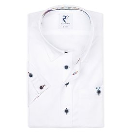 R2 Short sleeves white cotton 2 PLY shirt.