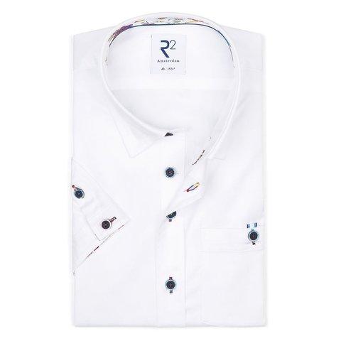 Korte mouwen wit katoenen 2 PLY overhemd.