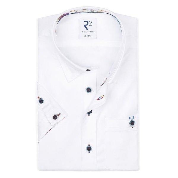 R2 Korte mouwen wit katoenen 2 PLY overhemd.