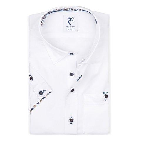 Kurzärmeliges weißes 2 PLY Baumwollhemd.