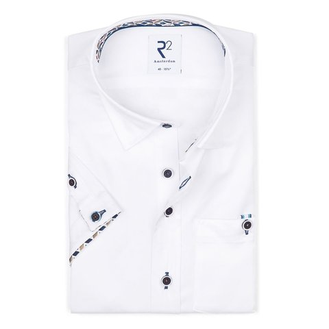 Short sleeves white 2 PLY cotton shirt.