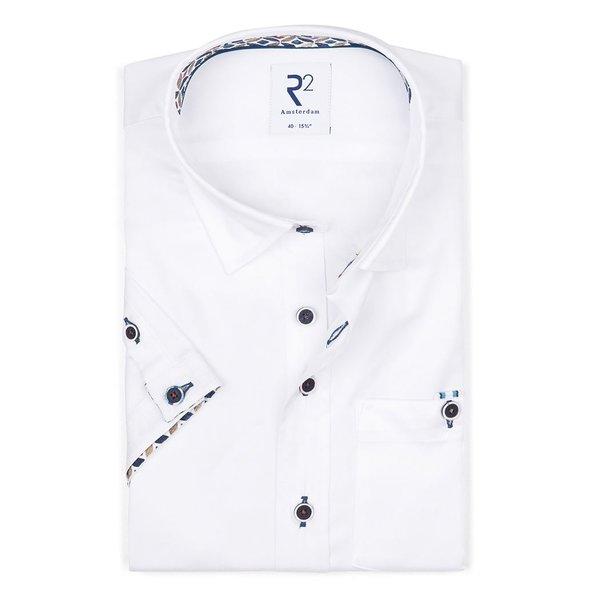 R2 Korte mouwen wit 2 PLY katoenen overhemd.