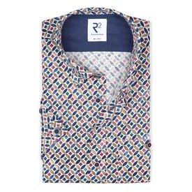 R2 Kurzärmeliges mehrfarbig Grafikdruck Baumwollhemd.