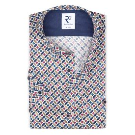 R2 Short sleeves multicolour graphic print cotton shirt.
