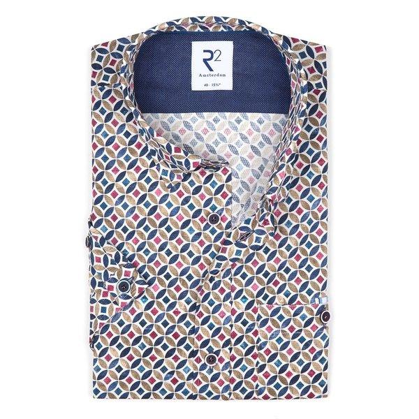 R2 Short sleeves multicolour graphic print cotton shirt.