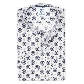 R2 Kurzärmeliges weißes Punktdruck Baumwollhemd.
