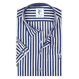 R2 Short sleeves Navy blue striped 2 PLY cotton shirt.