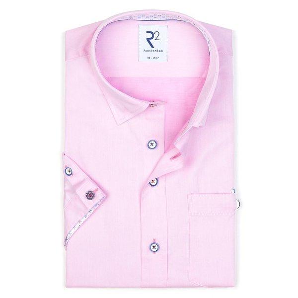 R2 Kurzärmeliges rosa 2 PLY Baumwollhemd.