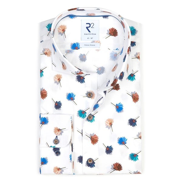 R2 White flower print stretch cotton shirt.
