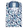 White floral print stretch cotton shirt.