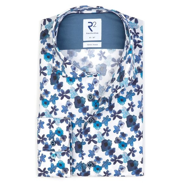 R2 Wit bloemenprint stretch katoenen overhemd.