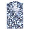 Blauw fietsprint stretch katoenen overhemd.