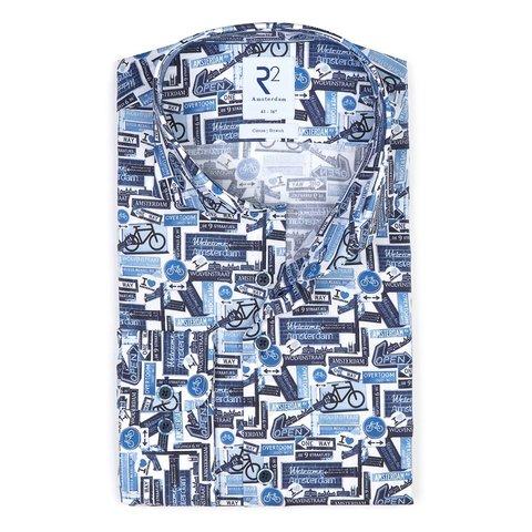 Blaues Radfahrer-Shirt aus Stretch-Baumwolle.