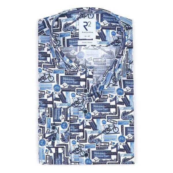 R2 Blauw fietsprint stretch katoenen overhemd.
